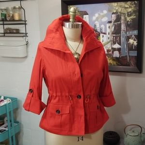 Ruby Rd. red 3/4 sleeve crop trench coat jacket 10